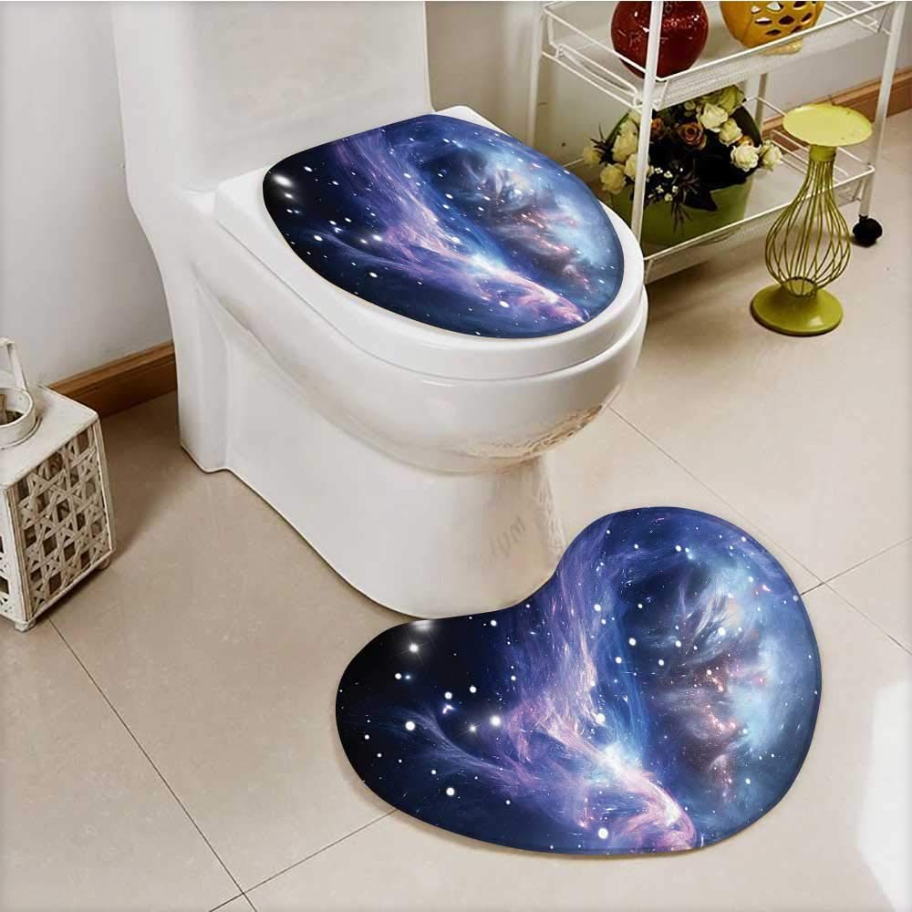 vanfan 2 Piece Anti-slip mat set Mysterious Nebula Gas Cloud in Deep Ouuter Space with Star Cluster Universe Solar Anti-slip Water Absorption