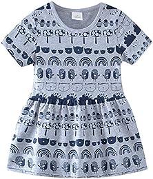 Little Girls Cartoon Pattern Print Short-Sleeved Dress Cotton Princess Dress