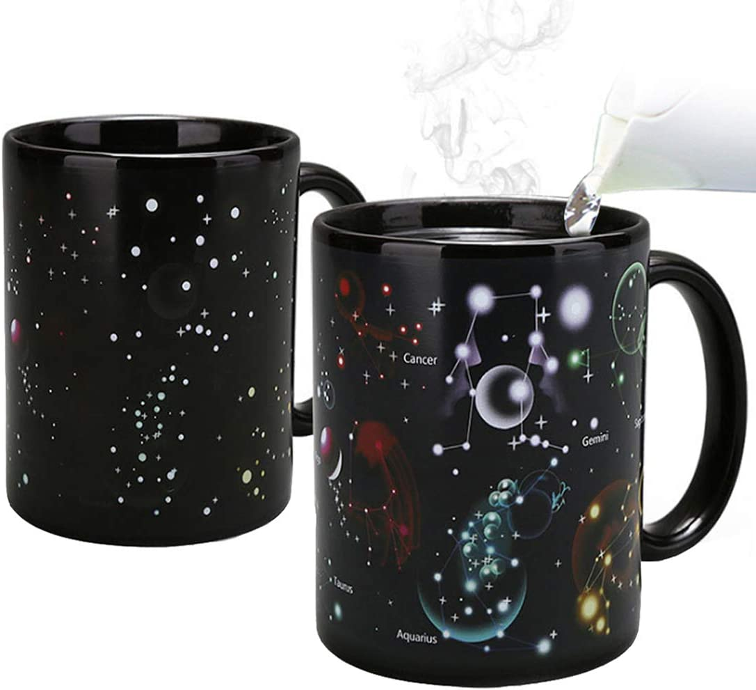 Constellations Color Changing Mugs- Add Coffee or Tea and Twelve Constellations Pattern Appears 12oz(340ml) Heat Changing Magic Mug with A Color Box as Gift Coffee Mugs for Mom Dad Friend Lovers