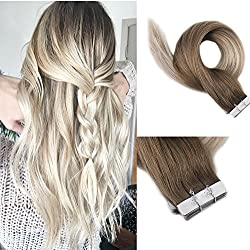 "[Promotion]Full Shine 16"" Tape in Extensions 100% Real Human Hair Color #8 Light Brown Fading to #60 and #18 Ash Blonde Balayage Remy Human Hair 50 Grams Seamless Extensions 20 Pieces Per Pack"