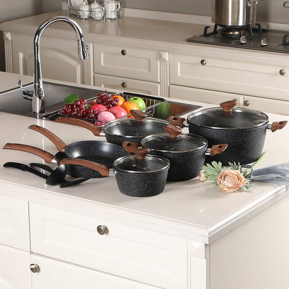 Benecook Non-stick marble coating 12-piece Cookware set(Oven Safe and Dishwasher Safe)