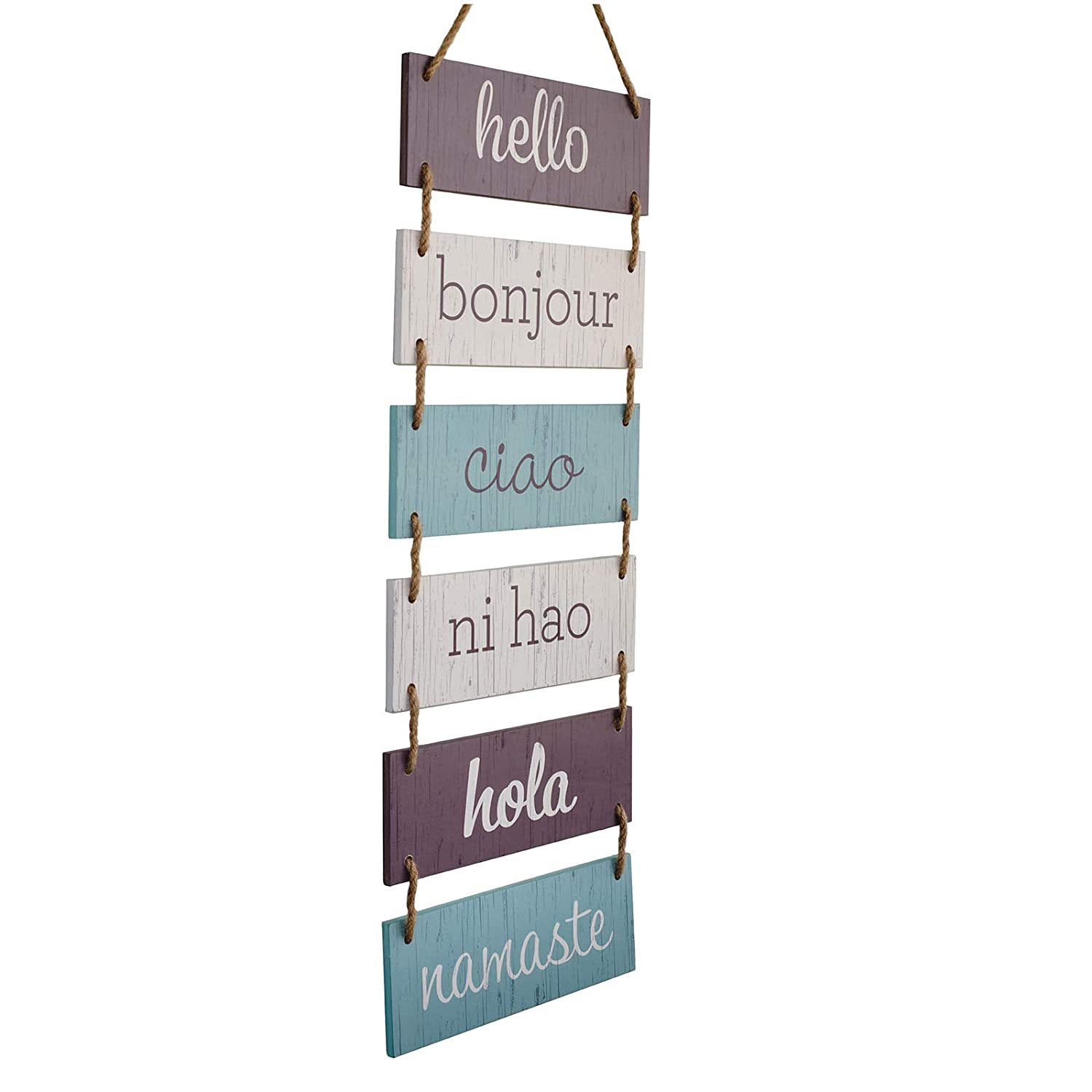 "Excello Global Products Large Hanging Wall Sign: Rustic Wooden Decor (Hello, Bonjour, Ciao, Ni Hao, Hola, Namaste) Hanging Wood Wall Decoration (11.75"" x 32"")"