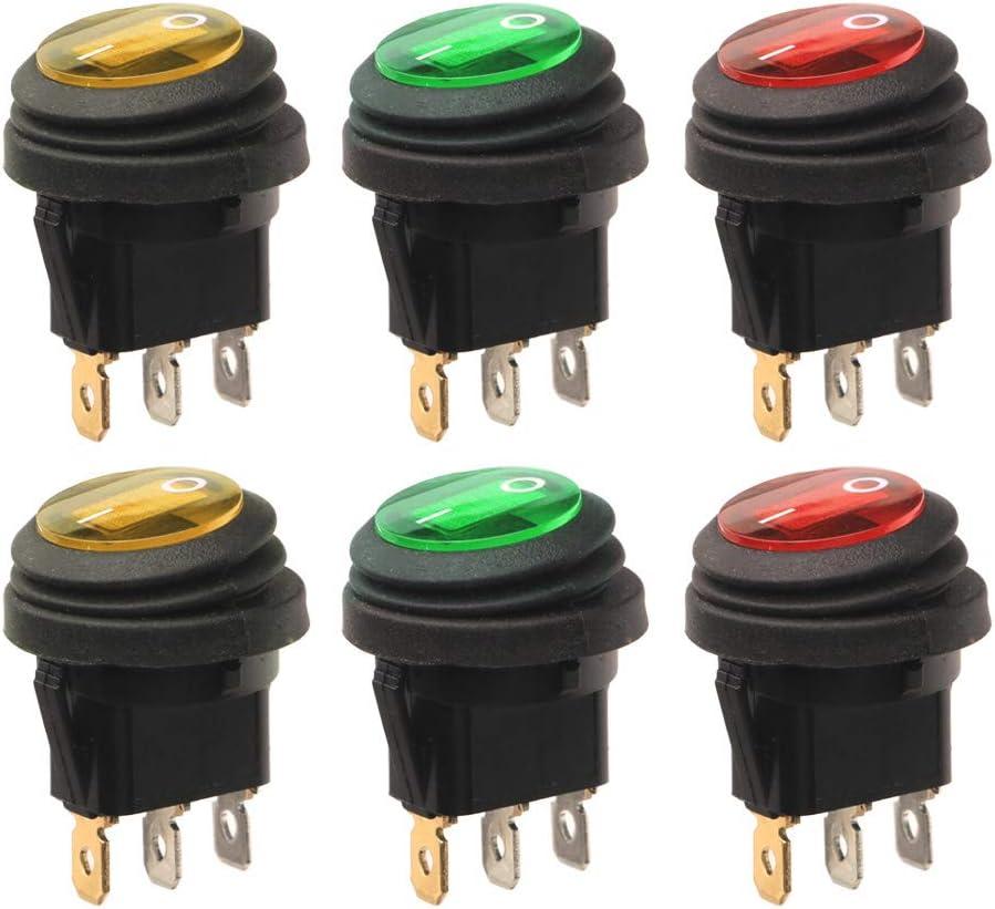 12 V luz de Lunares Interruptor Redondo para Coche Color Azul 16 A Naisidier SPST LED Remolque Barco cami/ón