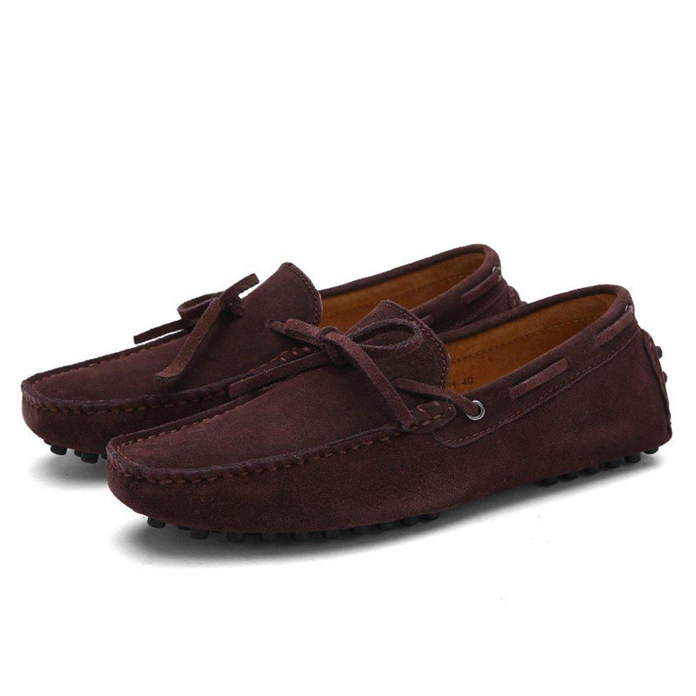 Bridfa Vaca Suede Leather Men Flats Hombres Zapatos casuales Hombres Mocasines Zapatos de conducción 7.5|Coffee