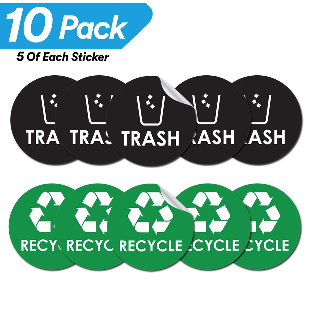 Recycle trash bin logo sticker 4 x 4 organize coordinate garbage waste from recycling great for metal aluminum steel or plastic trash cans