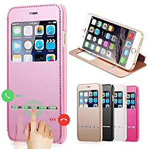 For iPhone 6 Smart View Window Flip Leather Case For iPhone 6 4.7 inch Deluxe Full Body Protect Phone Bag Cover --- Color:Pink Case