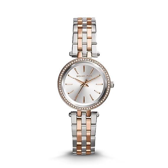 Michael Kors Reloj Mujer de Analogico con Correa en Chapado en Acero Inoxidable MK3298: Amazon.es: Relojes