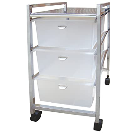 Laroom Carrito Ancho 3 cajones, Chrome Acero Inoxidable Structure y PP Drawers, Blanco