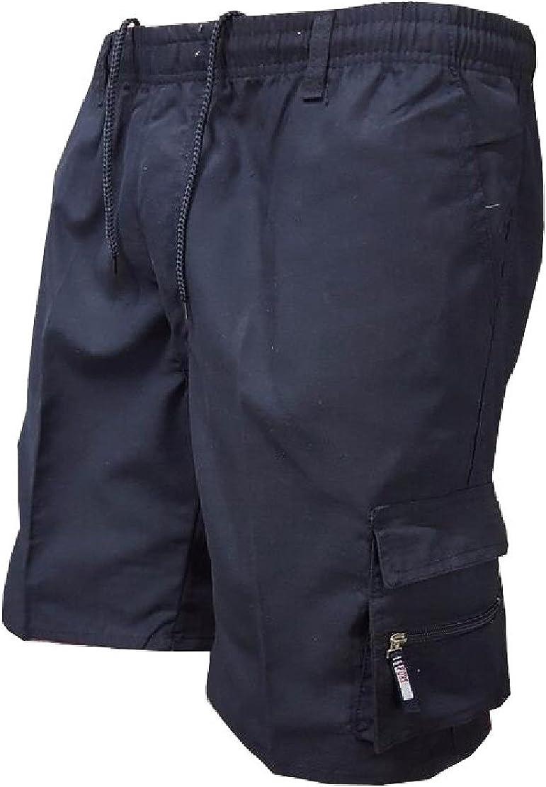 M/&S/&W Mens Cargo Shorts Pockets Outdoor Twill Elastic Waist Shorts