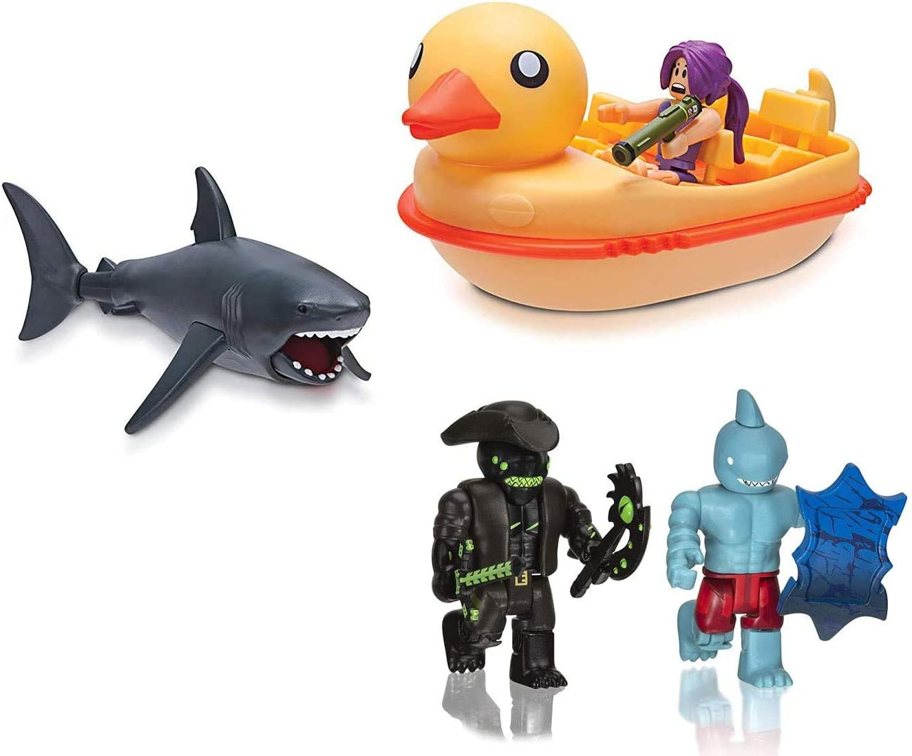 Roblox Chomp Chomp! Starter Pack/ Collector's Pack Series Sharkbite Duck Boat + A Pirates' Tale Shark People 2 Pack (Jumbo Pack)