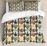 Cactus Bedding Duvet Cover Sets for Children/Adults/Kids/Teens Twin Size, Mexican Succulent in Pots Botanical Themed Illustration House Plant Arrangement, Hotel Luxury Decorative 4pcs Set, Multicolor