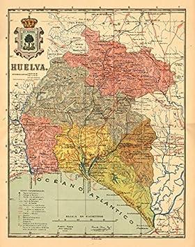 Huelva. Andalucía. Mapa Antiguo de la Provincia. Alberto Martin – C1911 – Old Antiguo Mapa Vintage – Mapas de Impreso de España: Amazon.es: Hogar