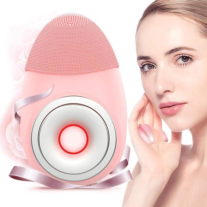 Limpiador Facial in Silicona, ANLAN Masajeador Sonico Recargable, IPX7 Waterproof Masaje Facial Anti-Aging Limpiador de Piel con Anillo Magnético Para Todo ...