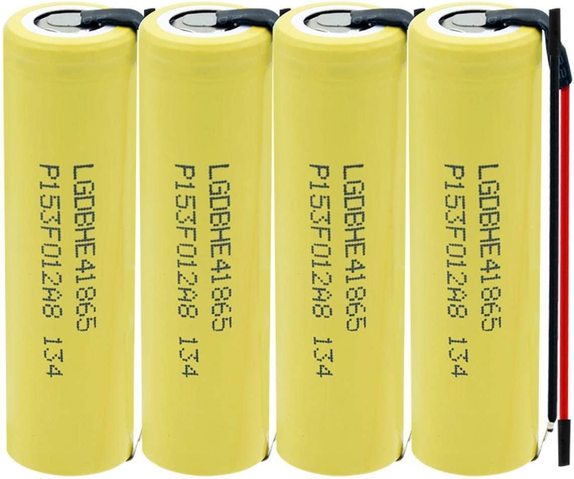 RECORDARME Li-Ion Battery Rechargeable 18650 Lithium Battery 3.7v 2500mah High Drain 35a, for Rc Toy Power Bank Flashlight Torch, with Wires 4pcs 2pcs
