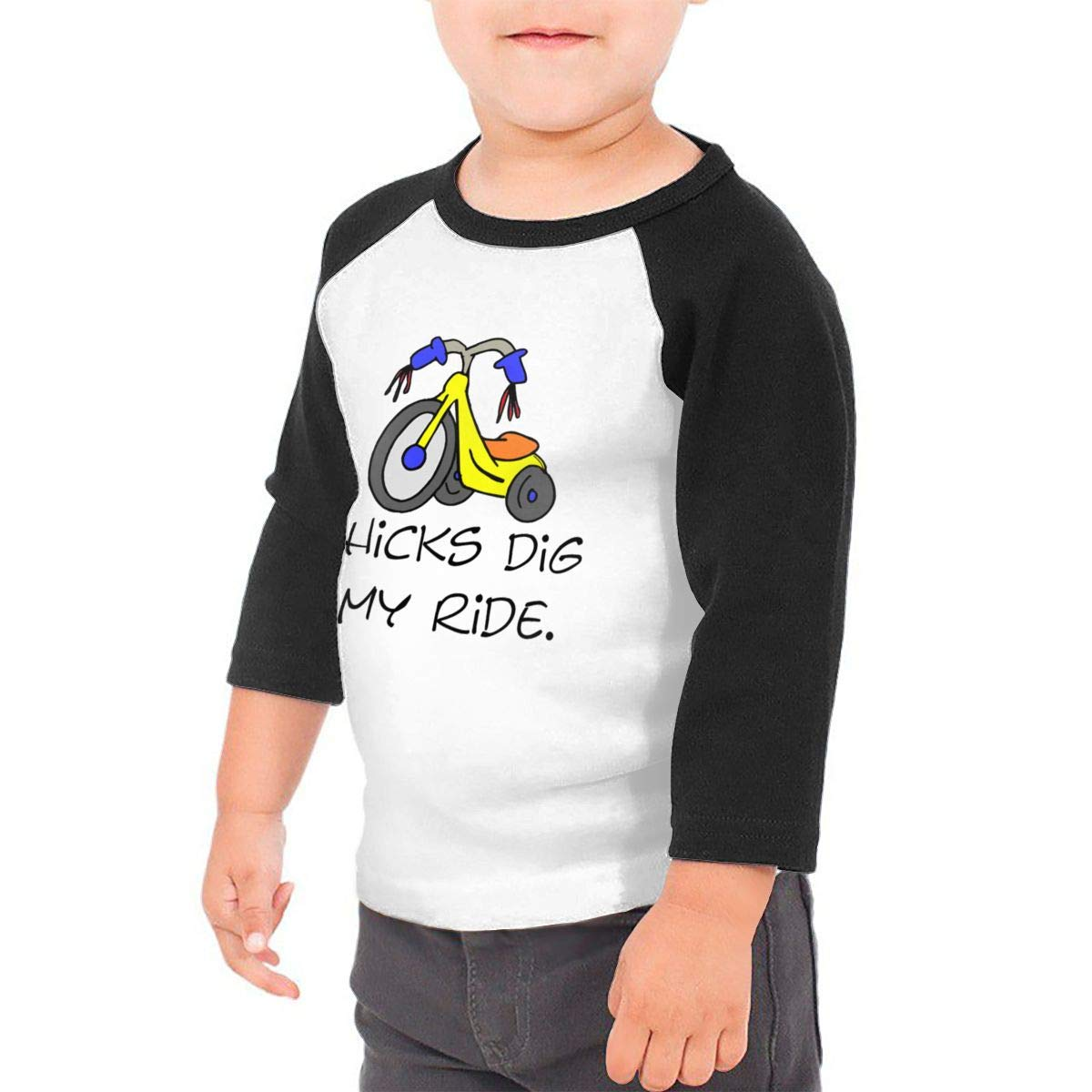 Chicks Dig My Ride Raglan 3//4 Sleeve T-Shirt for Girls Boy