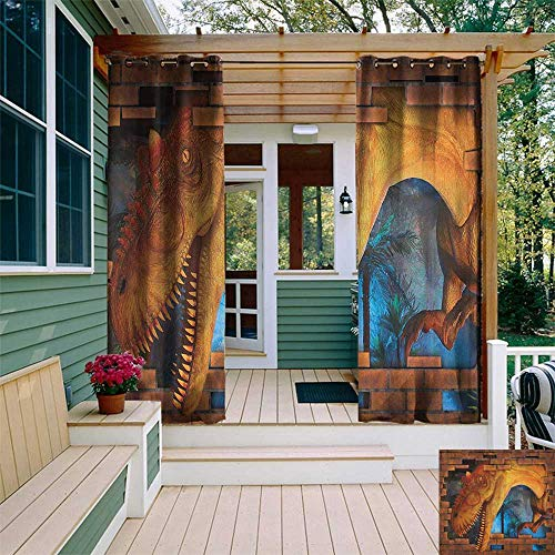 leinuoyi Dinosaur, Outdoor Curtain Kit, Tyrannosaurus Breaks a Brick Wall Frightening Scary Scenery Jungle Invaded House, Outdoor Curtain Set for Patio Waterproof W72 x L96 Inch Orange Blue ()