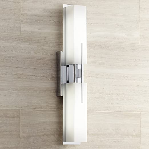 Possini euro midtown 23 12 wide chrome led bath light wall possini euro midtown 23 12 wide chrome led bath light wall sconces amazon aloadofball Images