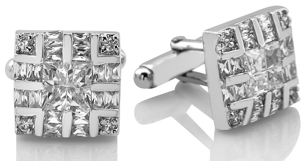 Men's Sterling Silver .925 Square Cufflinks with Cubic Zirconia Stones, Platinum Plated, 16mm by 16mm.