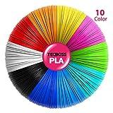 Tecboss 3D Pen/3D Printer Filament, 1.75mm PLA Filament Pack of 10, High-Precision Diameter Filament, Each Color 16 Feet