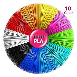 3D Pen Filament, Tecboss 1.75mm PLA Filament Refills Pack of 10 Colors, 16.4 Feet Per Color, Free E-stencils