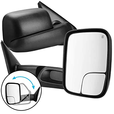 AUTOSAVER88 Tow Mirrors Compatible for 2002-2008 Dodge RAM 1500 2003-2009 Dodge RAM 2500 3500 Power Heated Dual Lenses Flip-Up Side Mirror with Black Housing Manual Folding Driver Passenger Set: Automotive
