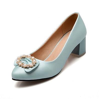 AgooLar Damen Weiches Material Ziehen auf Spitz Zehe Niedriger Absatz Rein Pumps Schuhe, Weiß, 40