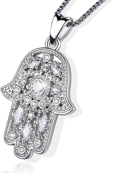 Aniu Halsketten f/ür Frauen Hamsa Hand der Fatima Silberkette Damen 925 Mama und Geburtstag mit 46cm Kette Geschenke f/ür Freundin Hand der B/ösen Augen Anh/änger mit Zirkonia