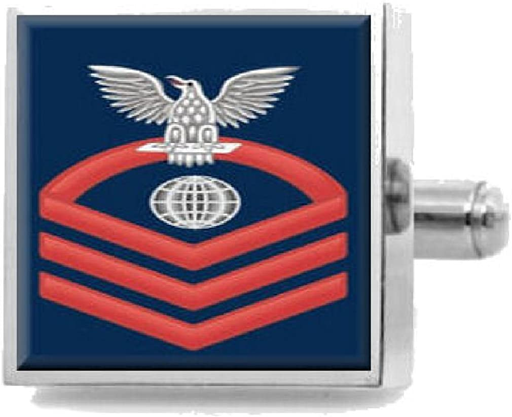 Sterling Engraved Cufflinks U.S Navy Chief Red E-7 Electricians Mate EM