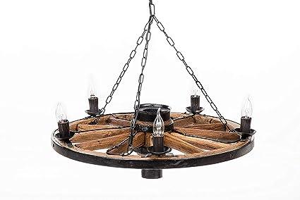Own Design Tradicional Rústico Auténtico Vendimia De Madera Rueda de Carro Candelabro Lámpara de Techo luz Colgante 5 Luz Madera Oscura marrón ...
