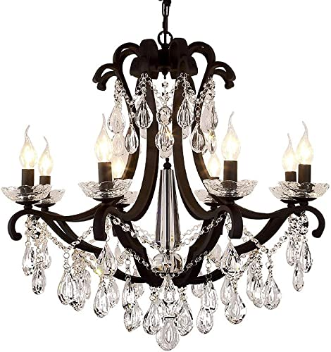 French Country Crystal Chandelier Industrial Ceiling Light Kitchen Vintage Pendant Lights Hanging lamp Farmhouse Decor for Home Bedroom Kitchen Bathroom Dining Room 8-Light
