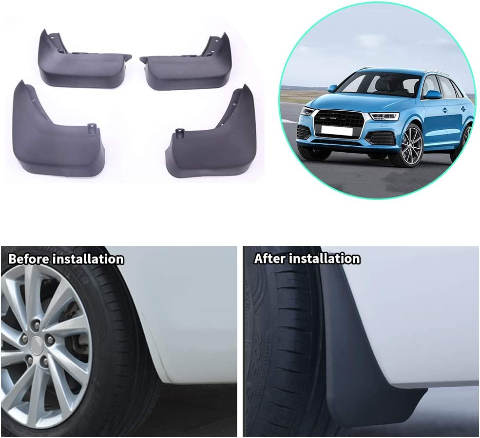 Upgraded Car Mud Flaps Mudguards for AUDI Q3 2016 Front Rear Splash Guards Car Fender Styling /& Body Fittings Black 4Pcs