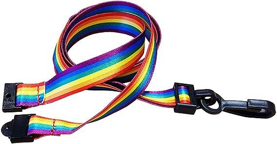 Identity2u - Correa para el cuello con clip de plástico y cierre de seguridad, multicolor: Amazon.es: Oficina y papelería