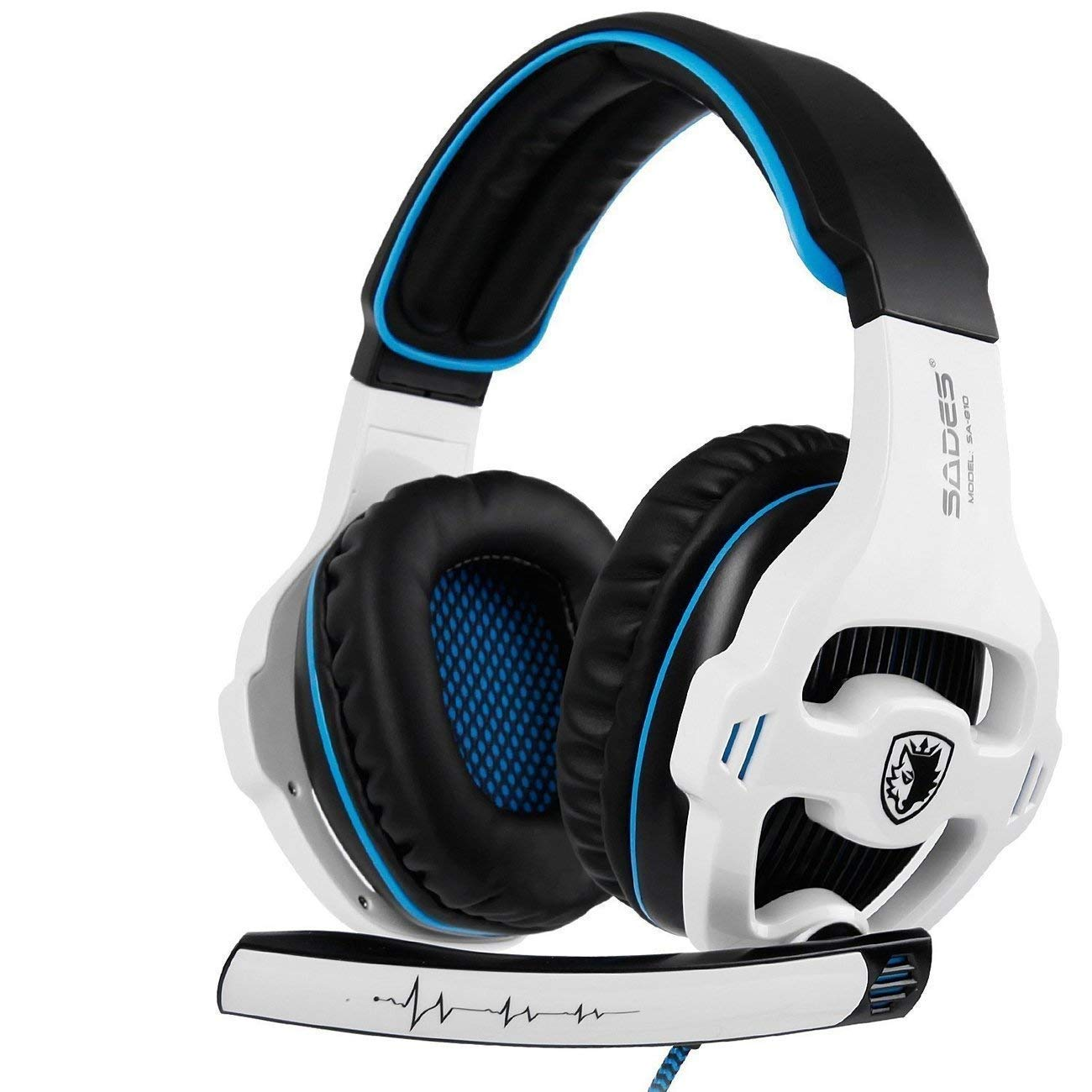 Xbox One Gaming Headset Stereo Over Ear Gaming Headset with Mic Noise Cancelling Volume Control for Xbox One/PC/Mac/PS4/Nintendo(White) by SADES