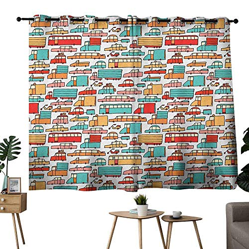 Mannwarehouse Cars Bedroom Balcony Living Room Curtain Children Drawing of Many Vehicles Motorbikes Caravans Trucks Taxis Buses Print 70%-80% Light Shading, 2 Panels,72