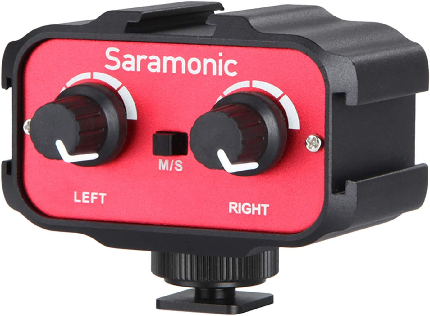 Microphone Audio Mixer, Saramonic SR-AX100 Universal Dual Channels Microphone Amplifier Adapter 3.5mm Jack & Cold Shoe Mount Compatible with DSLR Cameras & Camcorders