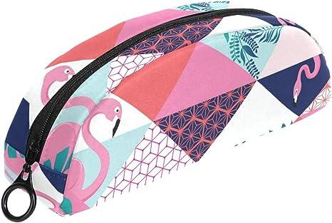 Tropical Flamingos Estuche geométrico para lápices, bolsa de maquillaje pequeña con cremallera para niños, niñas, adolescentes, escuela, papelería: Amazon.es: Oficina y papelería