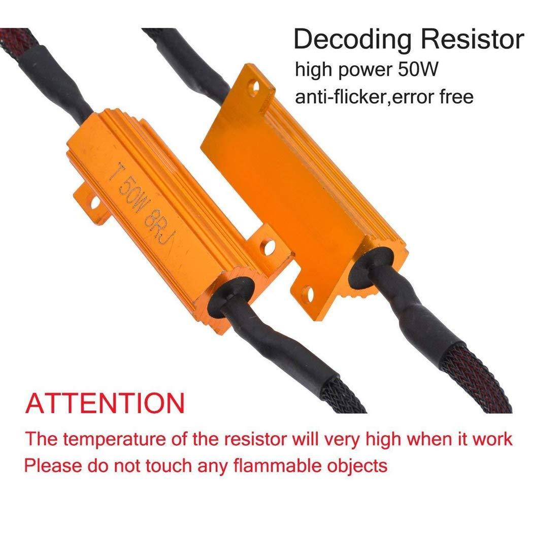 Fix LED Bulb Flashing Fast Hyper Flash Turn Signal Blinking Light Lamp Error Code Canceller Capacitor Resistors Decoder 50W 8 ohm 3157 LED Load Resistors