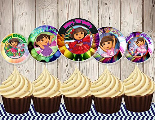 12 Happy Birthday Dora The Explorer Inspired Party Picks, Cupcake Picks, Cupcake Toppers #1 -  Crafting Mania LLC., 723861914742