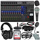 Zoom LiveTrak L-12 Channel Digital Mixer and Multi-Track Recorder Platinum Bundle w/ Headphones, Microphone, Pop Filter, Windscreen, Mic Stand, 10X Cables, 64GB, and Fibertique Cloth