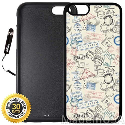 Custom iPhone 6/6S Case (Postage Air Mail Pattern) Edge-to-Edge Rubber Black Cover with Shock and Scratch Protection | Lightweight, Ultra-Slim | Includes Stylus Pen by INNOSUB ()