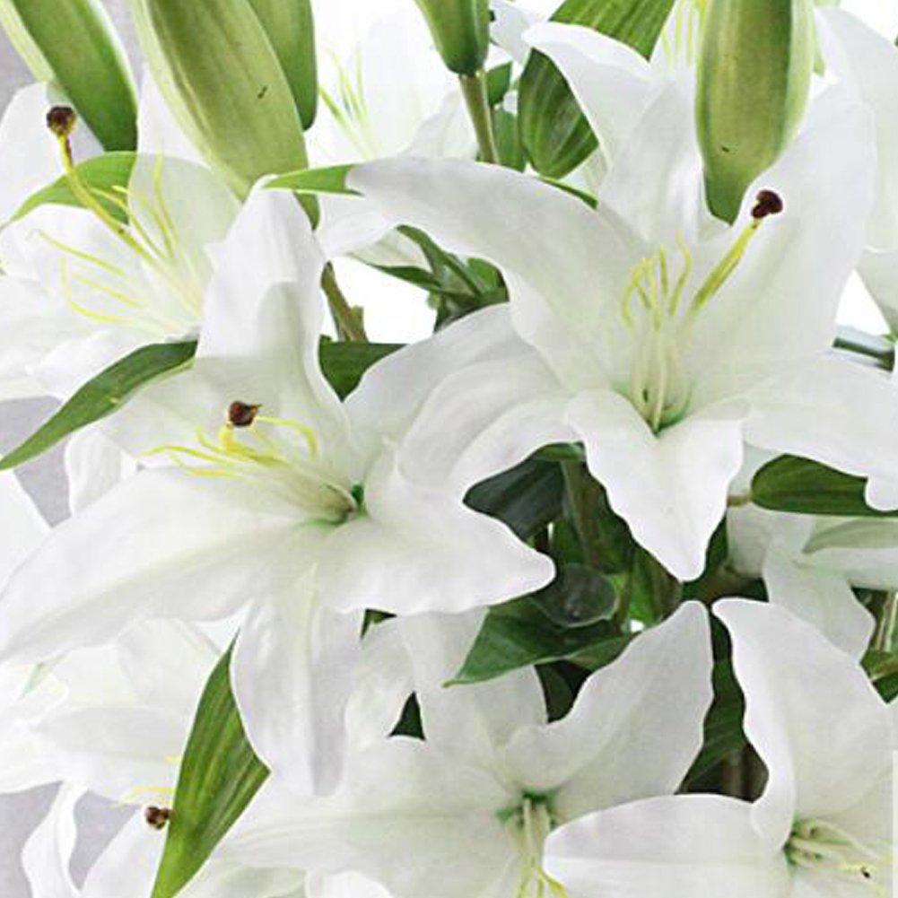 White lily bush artificial flower nniuk lily real touch lily flower white lily bush artificial flower nniuk lily real touch lily flower bouquet weddinggravesvases5pcs amazon kitchen home izmirmasajfo