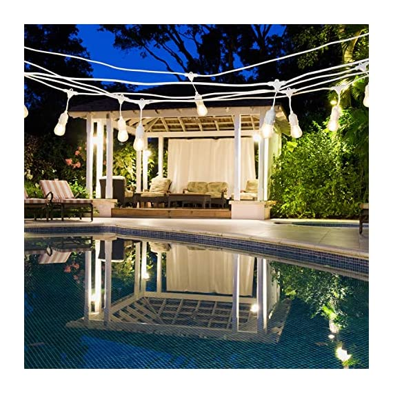 AmazonBasics 24-Foot Commercial Grade Outdoor String Lights with 8 S14 Edison Style 1-Watt LED Bulbs - Soft White & White Cord - 24-foot commercial grade outdoor string lights, includes 8 LED Edison S14 shape bulbs; UL listed with 1 bulb every 3 feet With a life of 15,000 hours, the bulb will last over 13.7 years (based on 3 hours of use each day) With a correlated color temperature of 2700 kelvin, the string lights provide a soft white light, creating a warm ambiance for any patio, pergola or outdoor setting - patio, outdoor-lights, outdoor-decor - 61ZdXwm4V0L. SS570  -