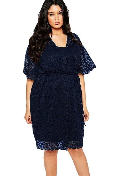Nueva mujer Plus tamaño azul marino 2 piezas Oficina de encaje vestido de fiesta vestido Casual