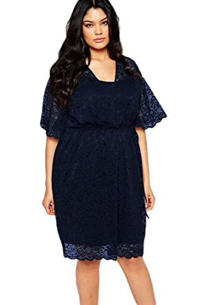 SunShine Plus Size Dress Navy 2pcs Lace Wrap Dress at Amazon Women\'s ...