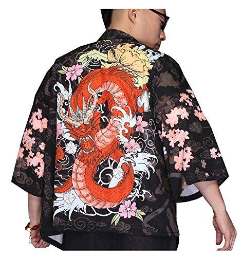 LifeHe Men's Kimono Japanese Printed Cotton Blends Linen Kimono Cardigan Jackets (Dragon, L)
