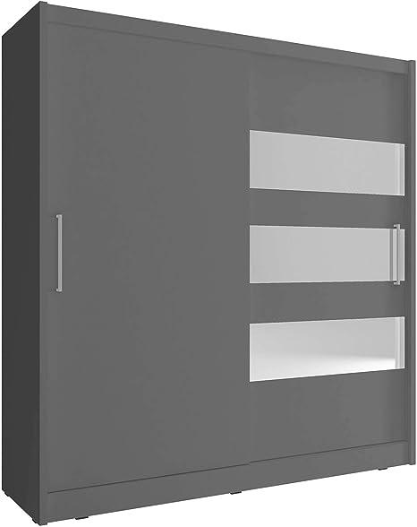 MAYA 3 - Armario para dormitorio con espejo horizontal y puertas ...