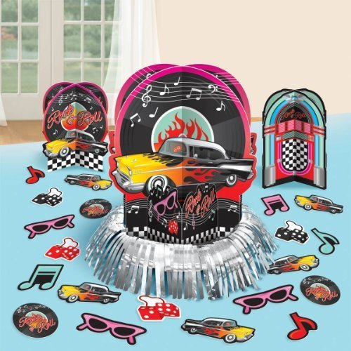 Nifty 50's Theme Party Jskebox and Vinyl Records Tbale Decorating Kit, Paper, 12