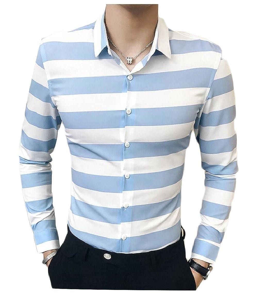 shinianlaile Men Long Sleeve Shirt Regular Fit Casual Stripe Button Down Dress Shirt
