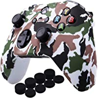 YoRHa Water Transfer Printing Camouflage Silicone Cover Skin Case for Microsoft Xbox One X & Xbox One S controller x 1(White) With PRO thumb grips x 8