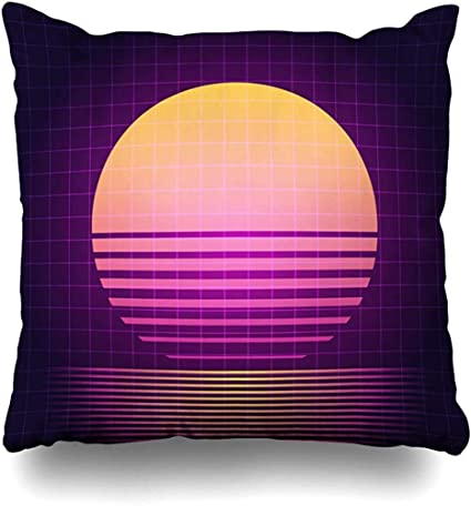 Xububaihuodian Purple 90s 80 Retro Sci Fi Sunset Vhs Abstract Graphic Electro Grid Vintage Neon Cushion Case Home Decor Square Size 18 X 18 Inches Design Throw Pillow Cover Pillowcase Amazon Co Uk Kitchen